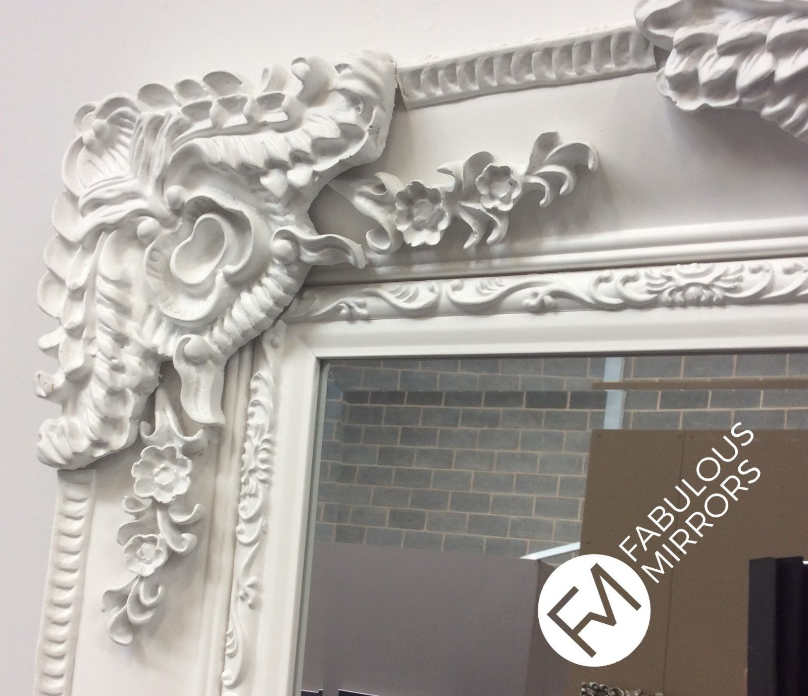 Large Stunning French White Decorative Ornate Beveled
